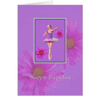 Birthday, Ballerina with Pink Daisies Greeting Card