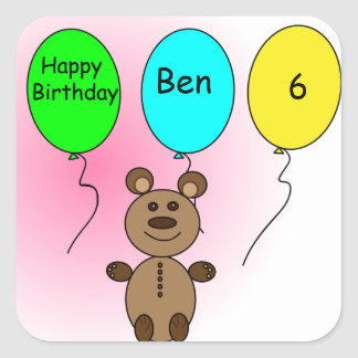 Birthday Balloon Bear Square Sticker