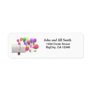 Birthday Balloon Mail Return Address Label