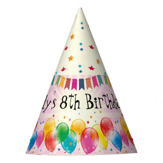 Birthday Balloons and Stars Party Hat