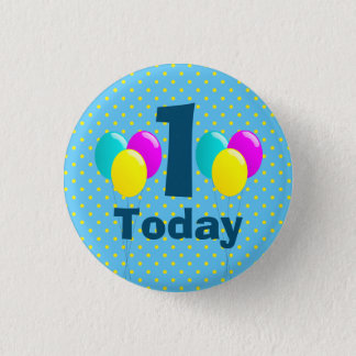 Birthday, Balloons, Blue Polka Dots Customizable 3 Cm Round Badge
