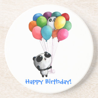Birthday Balloons Panda Bear Drink Coaster