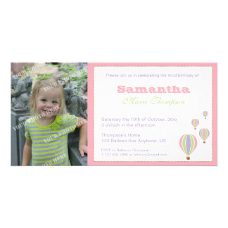 Birthday Balloons Party Invitation Customized Photo Card