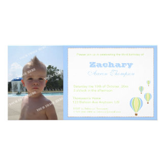 Birthday Balloons Party Invitation Photo Card Template