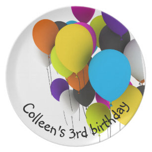 Birthday Balloons Personalised Plate