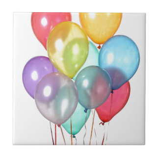 Birthday Balloons Small Square Tile