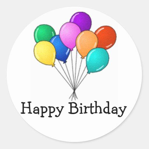 Birthday Balloons Round Stickers