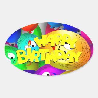 Birthday Balloons Oval Sticker