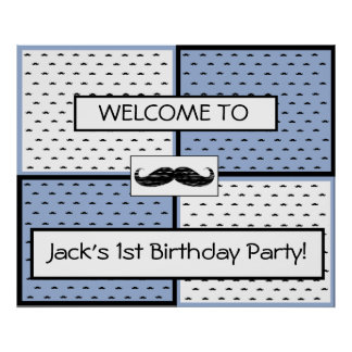 Birthday Banner Poster Mustache Themed