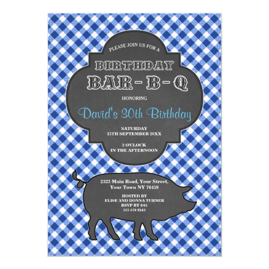 Birthday BARBEQUE Chalk Blue Gingham Invitation
