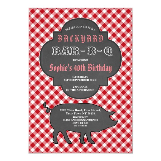 Birthday BARBEQUE Chalk Red Gingham Invitation