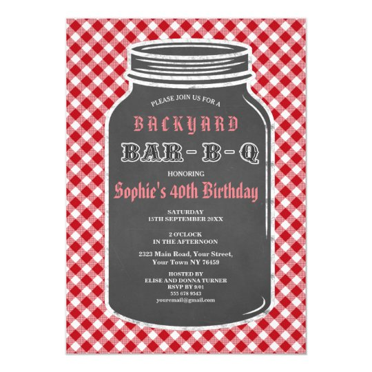 Birthday BARBEQUE Mason Jar Gingham Invitation