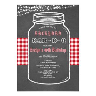 Birthday BARBEQUE Mason Jar Red Gingham Invitation