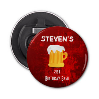 Birthday Bash Beer Mug on Grunge Red Abstrac