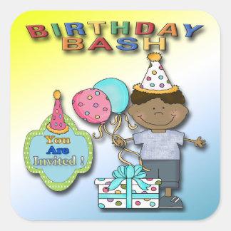 Birthday Bash Boy B Party Invitation envelope seal Square Sticker
