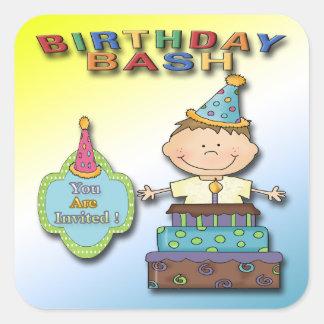 Birthday Bash Boy Party Invitation envelope seal Square Sticker
