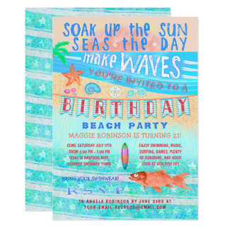 Birthday Beach or Pool Party Summer Fish Surf Swim Card