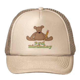Birthday Bear 3rd Birthday Gifts Cap