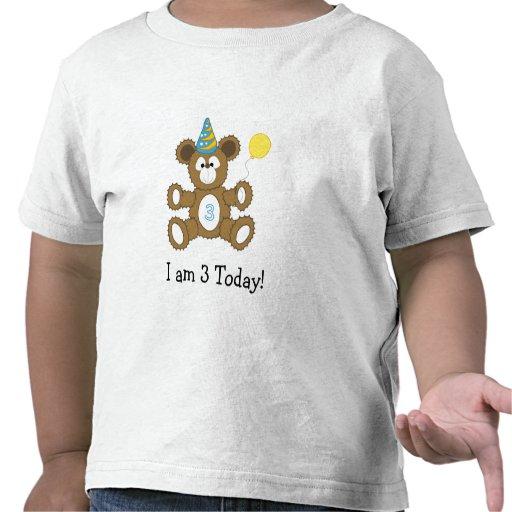 Birthday Bear  I am 3 Today! BOY Shirts