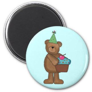 Birthday Bear 6 Cm Round Magnet
