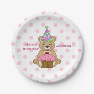 Birthday Bear Pink Cupcake Polkadot Personalized Paper Plate