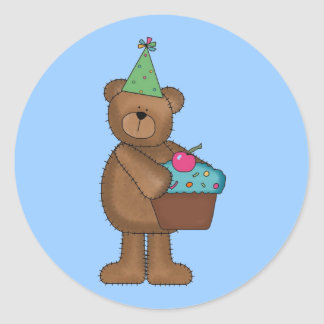Birthday Bear Round Sticker