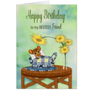 Birthday - Best Friend - Mouse in Tea Cup Resting Card