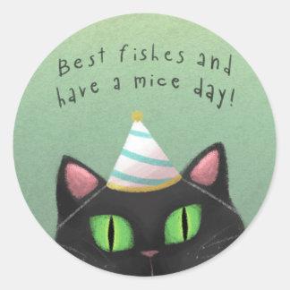 Birthday Black Cat Sticker