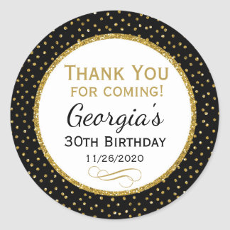 Birthday Black Gold Thank You Favor Tags Round Sticker