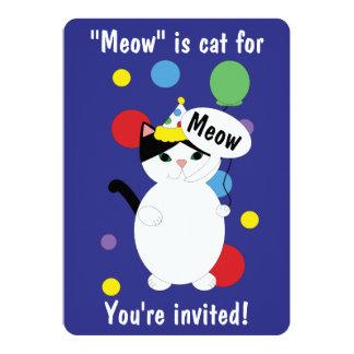 Birthday Black White Cat Meow Custom Card
