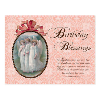 Birthday Blessings Angel Vintage Inspired Postcard