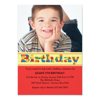 Birthday Blocks Photo Invitation