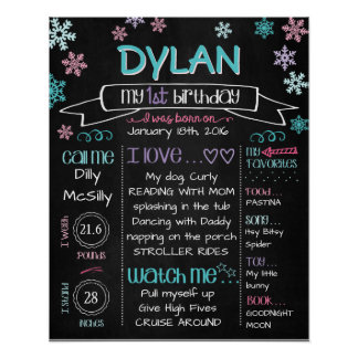 Birthday Board Snowflakes Mixed Colors Poster