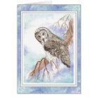 Birthday Boss with Great Grey, Grey Owl Bird Card
