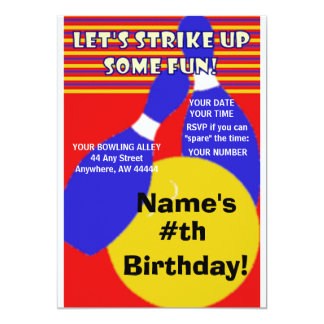 Birthday Bowling Invitation. 13 Cm X 18 Cm Invitation Card