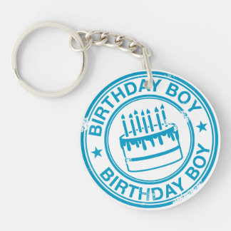 Birthday Boy 2 tone rubber stamp effect -blue- Double-Sided Round Acrylic Key Ring
