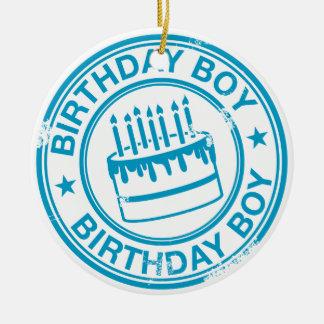 Birthday Boy 2 tone rubber stamp effect -blue- Round Ceramic Decoration