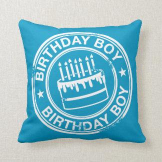 Birthday Boy 2 tone rubber stamp effect -blue- Throw Cushions