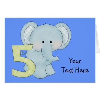 Birthday Boy 5 Elephant (personalized) Greeting Card