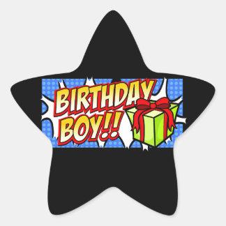 Birthday Boy Banner Star Stickers