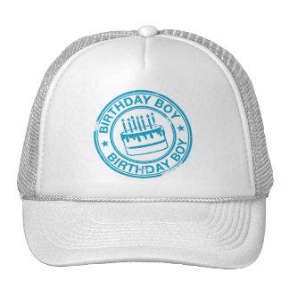 Birthday Boy -blue rubber stamp effect- Trucker Hats