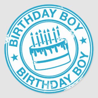 Birthday Boy -blue rubber stamp effect- Round Sticker