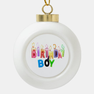 Birthday Boy Colorful Candles Collage Ornament