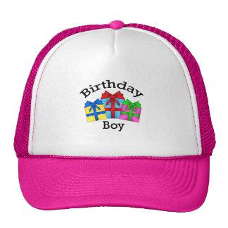 Birthday boy in black with presents mesh hats