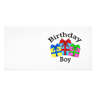 Birthday boy in black with presents picture card
