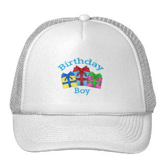 Birthday boy in blue with presents trucker hats