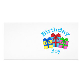 Birthday boy in blue with presents photo cards