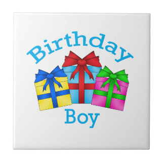 Birthday boy in blue with presents ceramic tile