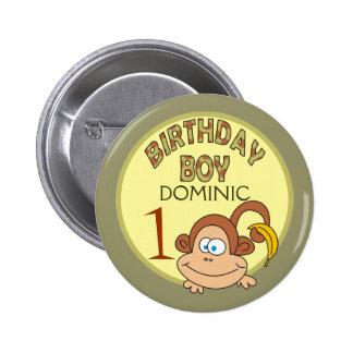 Birthday Boy Monkey With Banana Party Button
