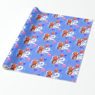 Birthday Boy or Girl age 2 Ladybug wrapping paper. Wrapping Paper